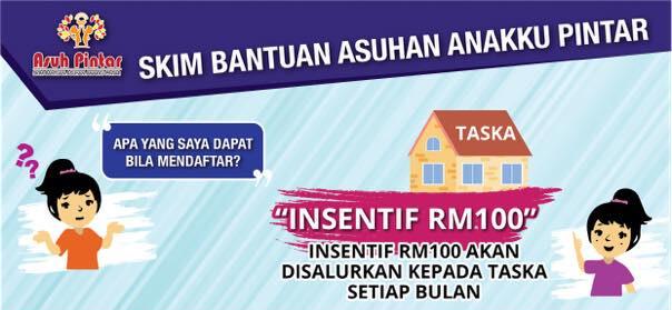Bantuan Yuran Taska tadika Nurseri RM100 Sebulan 2021 Asuh Pintar
