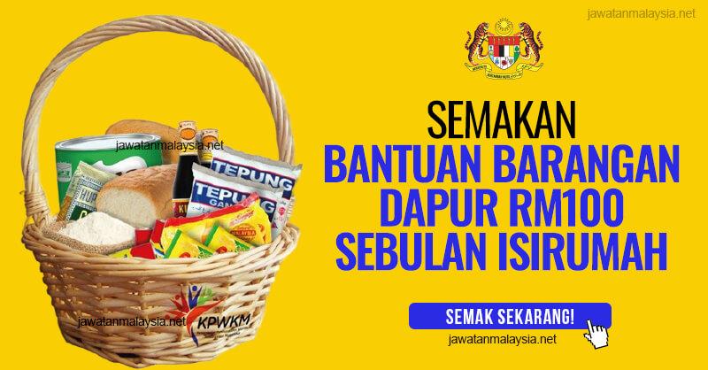 Post image for Semakan Bantuan Barangan Dapur RM100 Sebulan Isirumah Program Prihatin Kasih